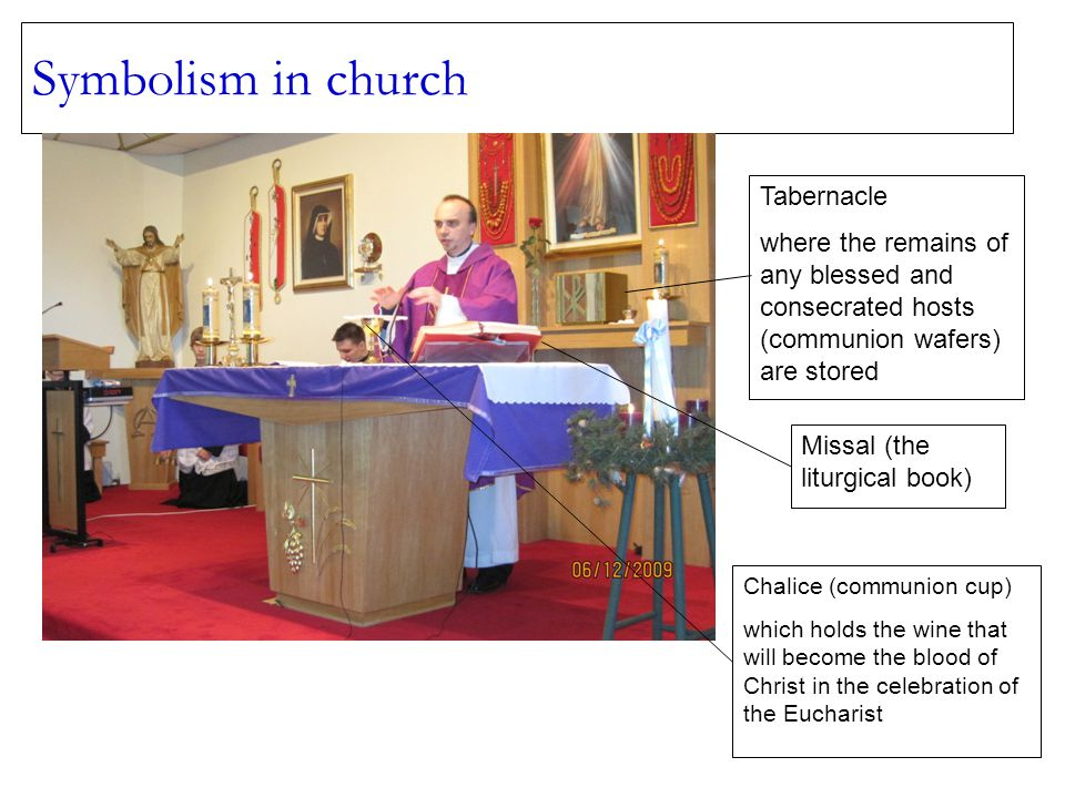Symbolism in church Tabernacle where the remains of any blessed and consecrated hosts (communion wafers) are stored Missal (the liturgical book) Chalice (communion cup) which holds the wine that will become the blood of Christ in the celebration of the Eucharist