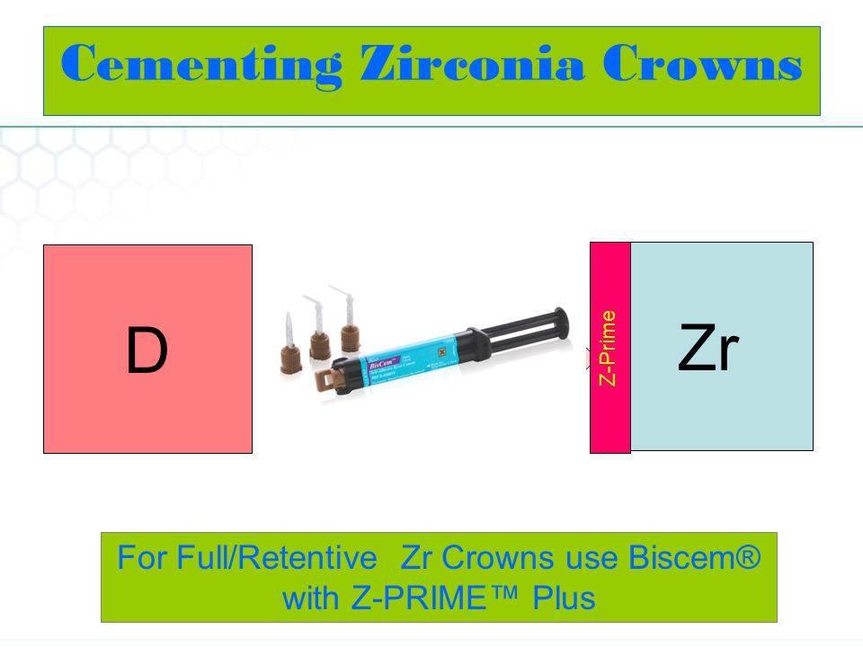 Zr D BisCem For Full/Retentive Zr Crowns use Biscem® with Z-PRIME Plus Z-Prime Cementing Zirconia Crowns