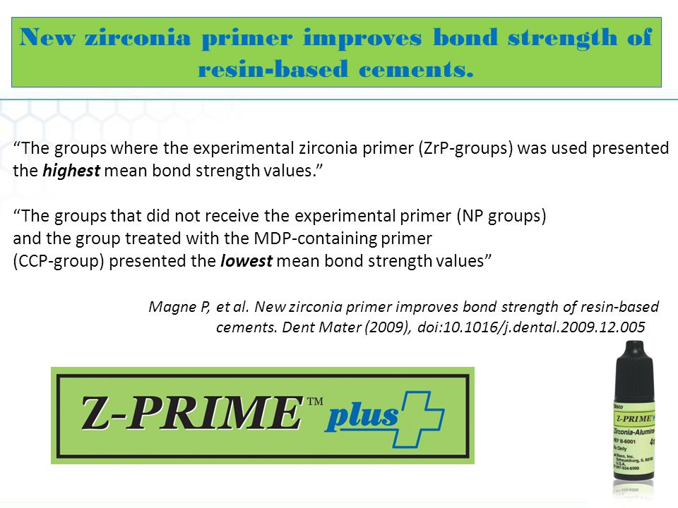 The groups where the experimental zirconia primer (ZrP-groups) was used presented the highest mean bond strength values.