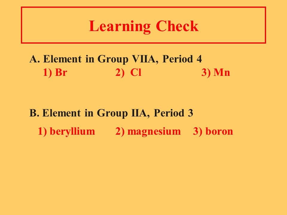 Learning Check A. Element in Group VIIA, Period 4 1) Br2) Cl3) Mn B.