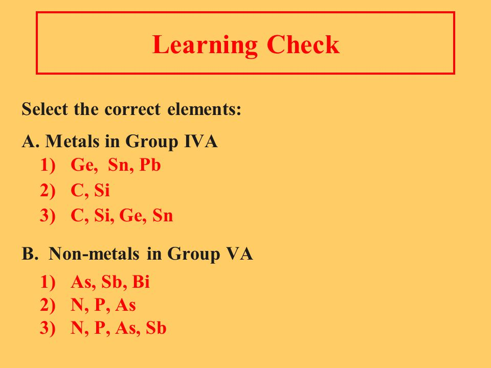Learning Check Select the correct elements: A.