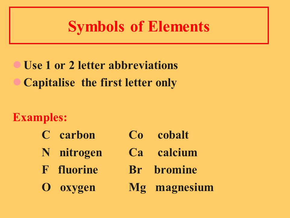 Symbols of Elements Use 1 or 2 letter abbreviations Capitalise the first letter only Examples: C carbon Cocobalt N nitrogenCacalcium F fluorine Br bromine O oxygen Mg magnesium