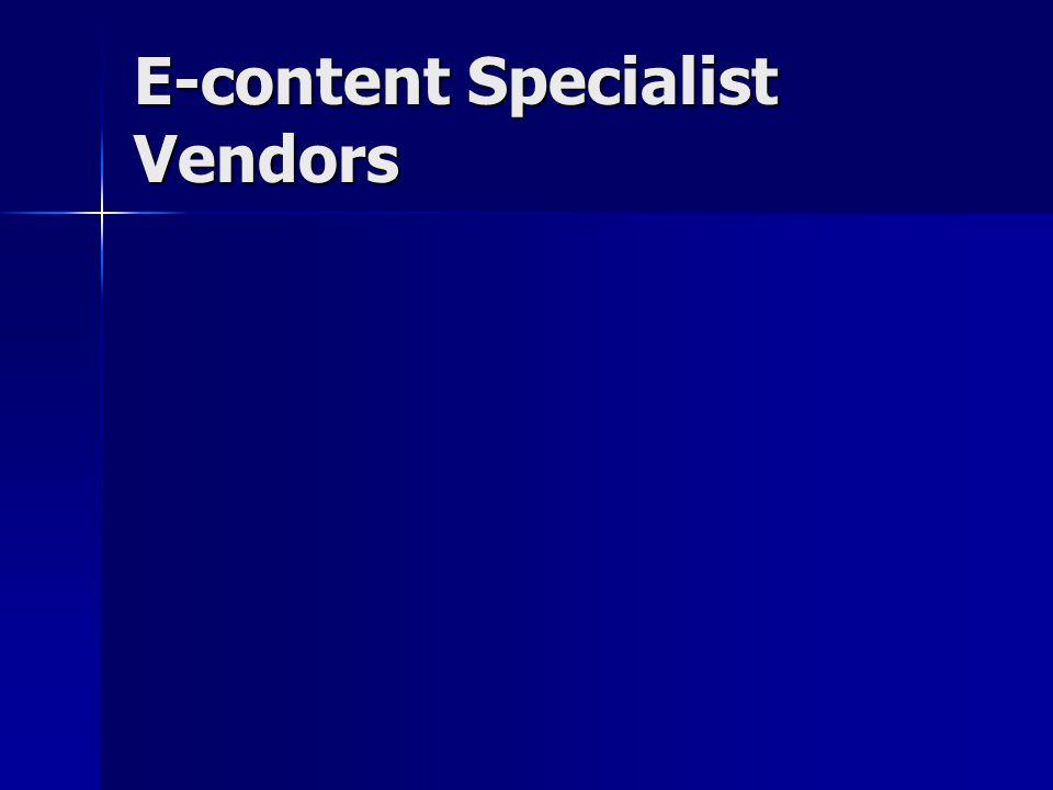E-content Specialist Vendors