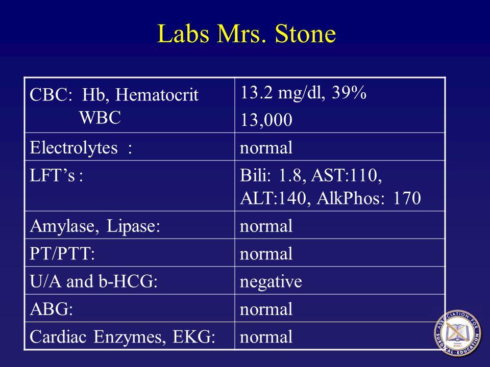 Labs Mrs. Stone CBC: Hb, Hematocrit WBC 13.2 mg/dl, 39% 13,000 Electrolytes:normal LFTs:Bili: 1.8, AST:110, ALT:140, AlkPhos: 170 Amylase, Lipase:norm