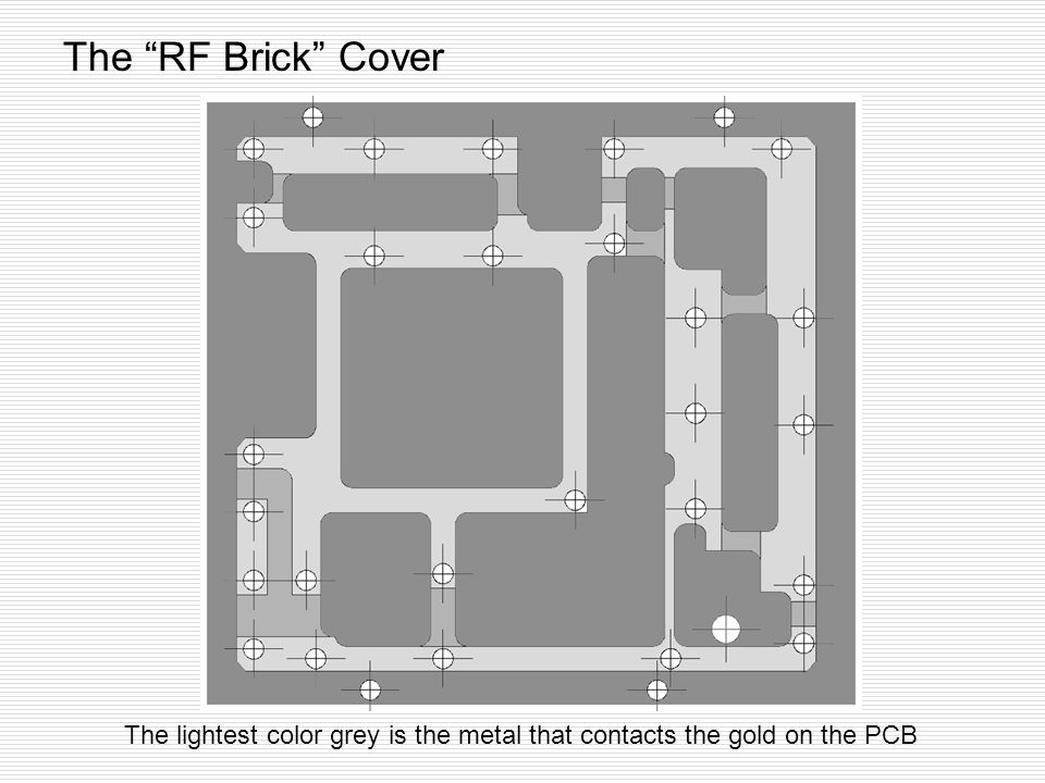 The RF Brick Cover The lightest color grey is the metal that contacts the gold on the PCB
