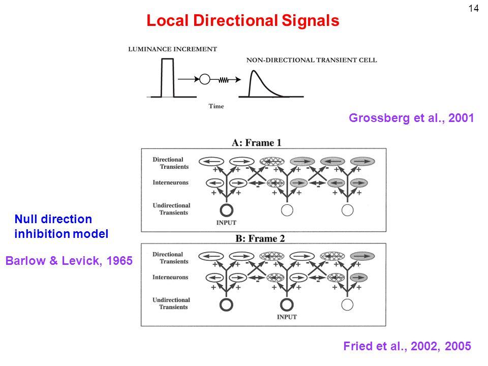 14 Local Directional Signals Fried et al., 2002, 2005 Null direction inhibition model Barlow & Levick, 1965 Grossberg et al., 2001