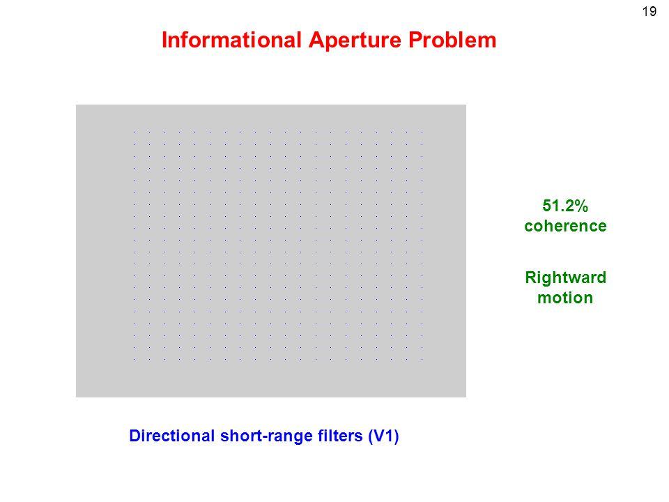 19 Informational Aperture Problem Directional short-range filters (V1) 51.2% coherence Rightward motion