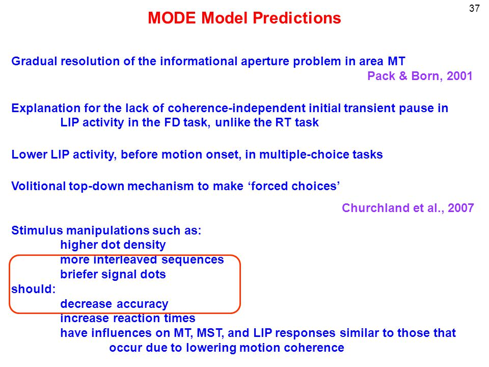 37 MODE Model Predictions Gradual resolution of the informational aperture problem in area MT Pack & Born, 2001 Explanation for the lack of coherence-