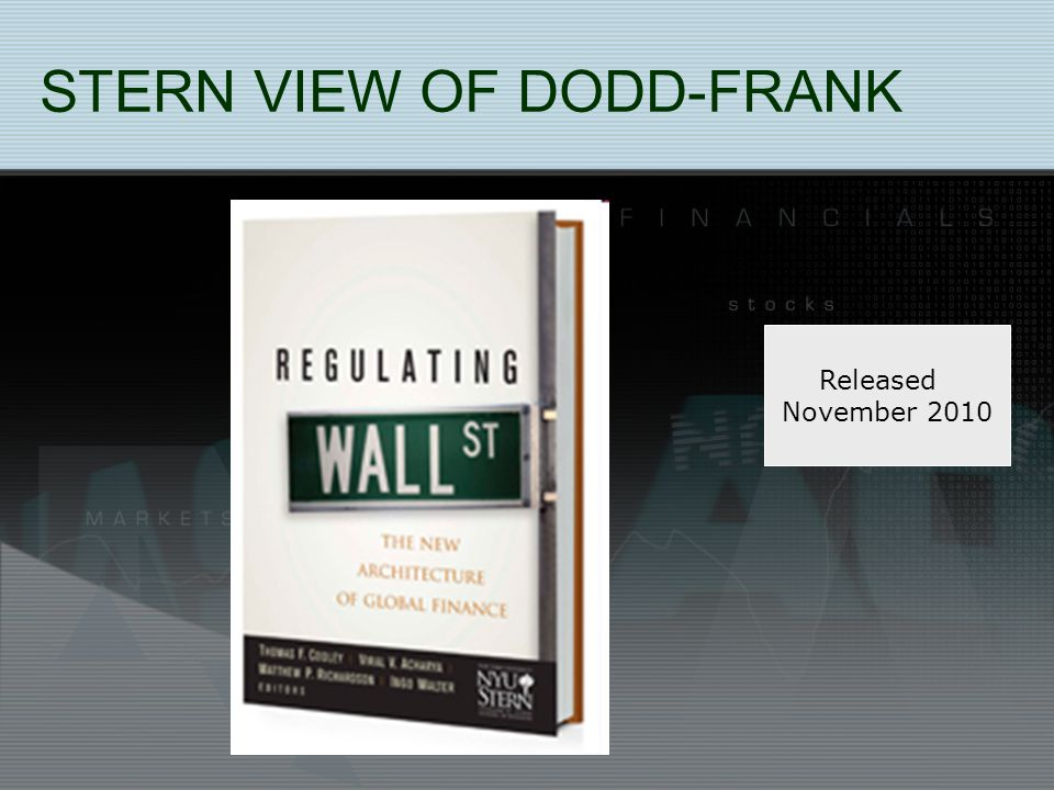 STERN VIEW OF DODD-FRANK Released November 2010