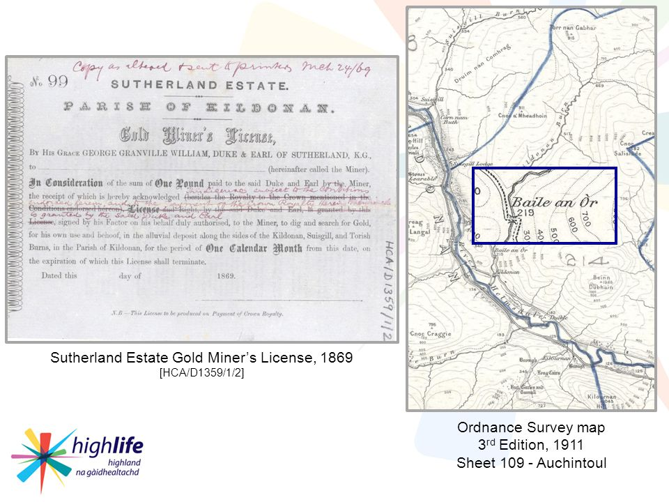 Ordnance Survey map 3 rd Edition, 1911 Sheet 109 - Auchintoul Sutherland Estate Gold Miners License, 1869 [HCA/D1359/1/2]
