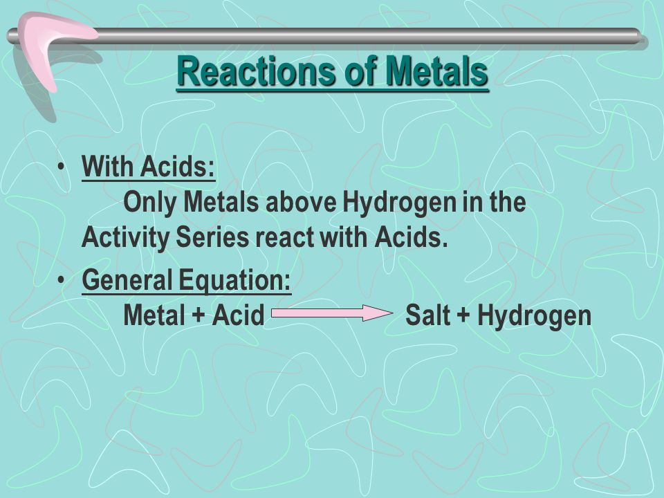 Reactions of Metals With Acids: Only Metals above Hydrogen in the Activity Series react with Acids.