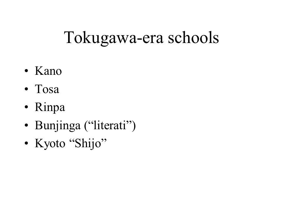 Tokugawa-era schools Kano Tosa Rinpa Bunjinga (literati) Kyoto Shijo