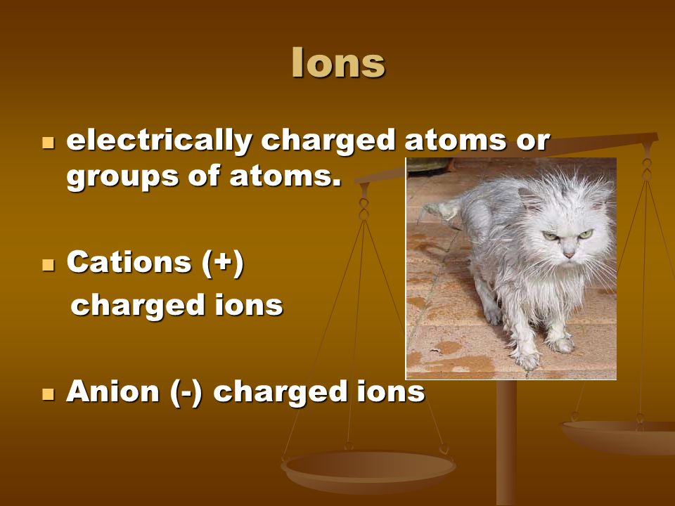 Ions electrically charged atoms or groups of atoms. electrically charged atoms or groups of atoms. Cations (+) Cations (+) charged ions charged ions A