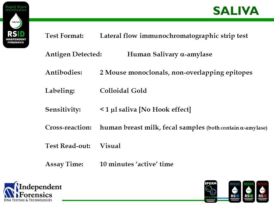 SPERM HYLITER Test Format: Lateral flow immunochromatographic strip test Antigen Detected: Human Salivary -amylase Antibodies:2 Mouse monoclonals, non