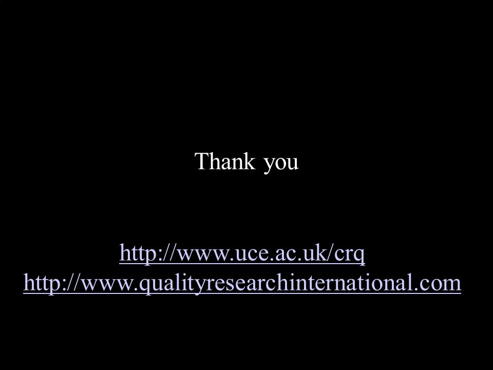 Thank you http://www.uce.ac.uk/crq http://www.qualityresearchinternational.com