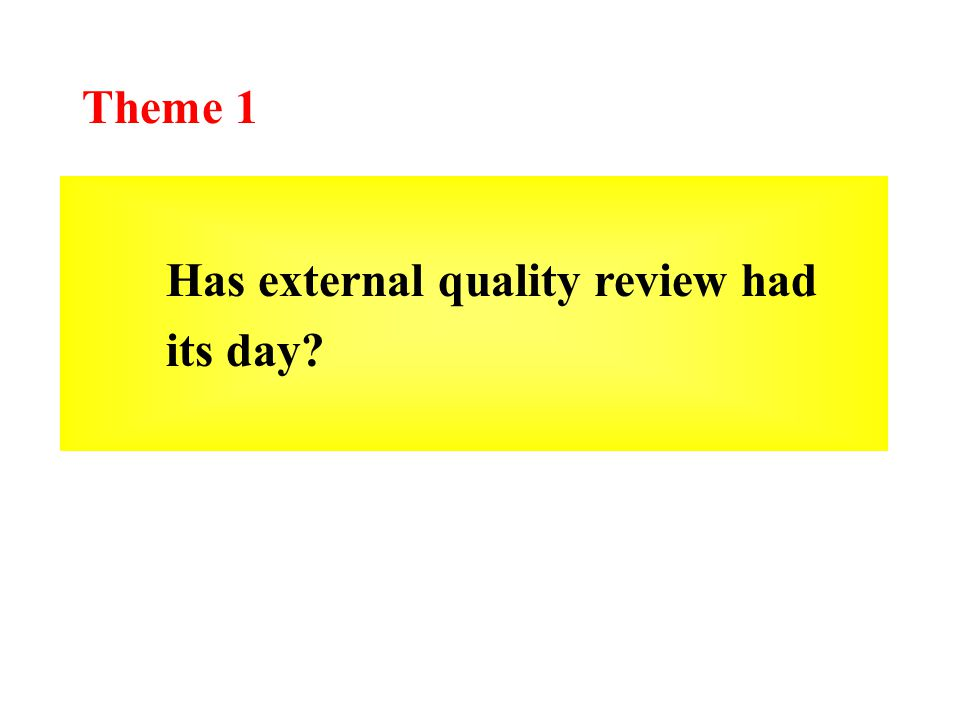 Theme 1 Has external quality review had its day