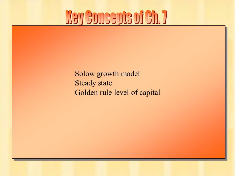 Chapter Seven22 Solow growth model Steady state Golden rule level of capital