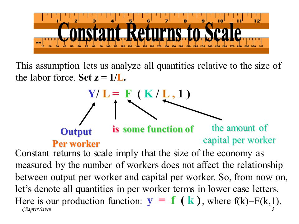 Chapter Seven16 The basic Solow model shows that capital accumulation, alone, cannot explain sustained economic growth: high rates of saving lead to high growth temporarily, but the economy eventually approaches a steady state in which capital and output are constant.