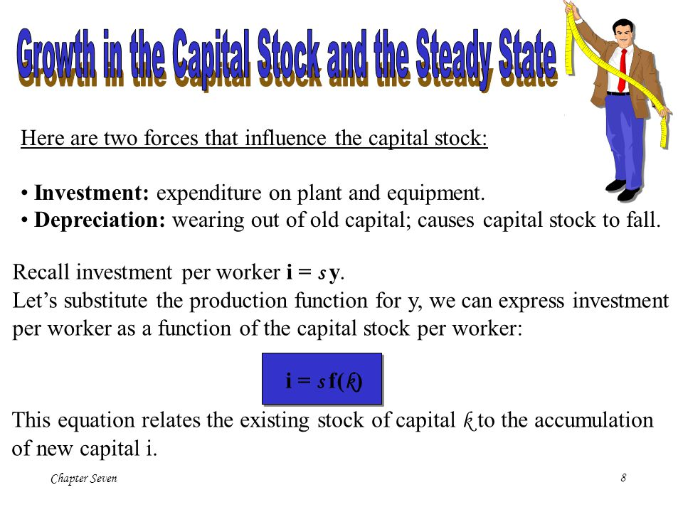 Chapter Seven8 Here are two forces that influence the capital stock: Investment: expenditure on plant and equipment. Depreciation: wearing out of old