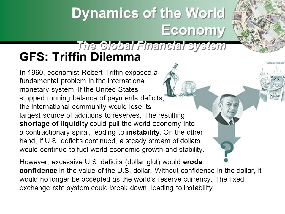 GFS: Triffin Dilemma In 1960, economist Robert Triffin exposed a fundamental problem in the international monetary system. If the United States stoppe
