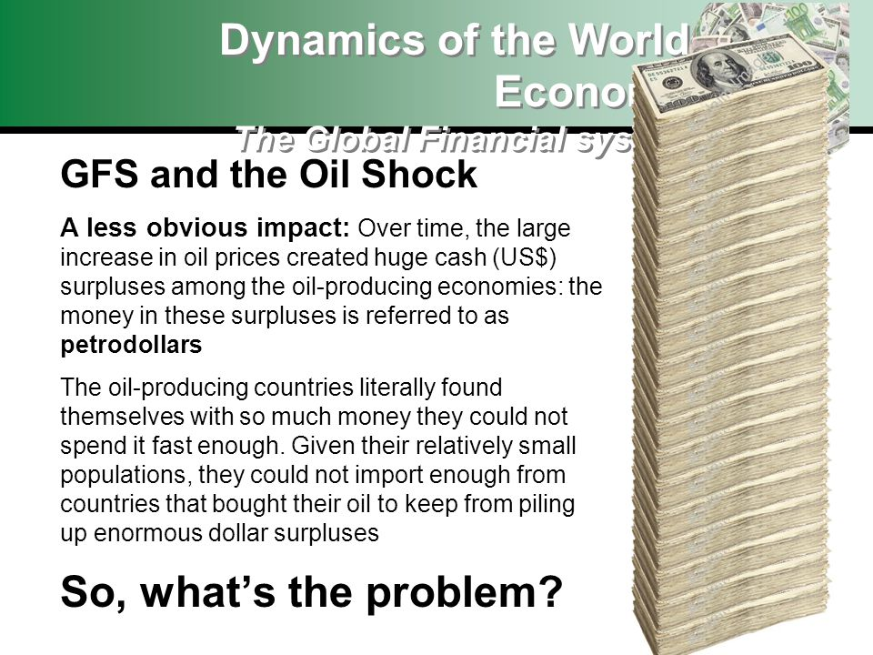 Dynamics of the World Economy The Global Financial system GFS and the Oil Shock A less obvious impact: Over time, the large increase in oil prices cre