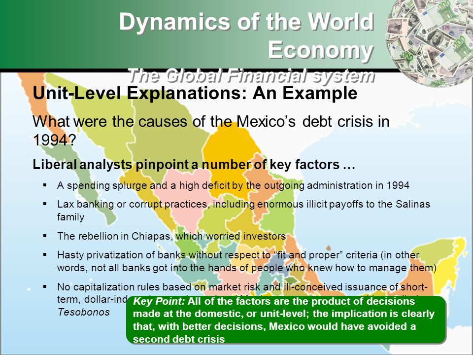 Dynamics of the World Economy The Global Financial system Unit-Level Explanations: An Example What were the causes of the Mexicos debt crisis in 1994?