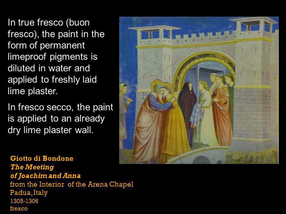 Giotto di Bondone The Meeting of Joachim and Anna from the Interior of the Arena Chapel Padua, Italy 1305-1306 fresco In true fresco (buon fresco), th