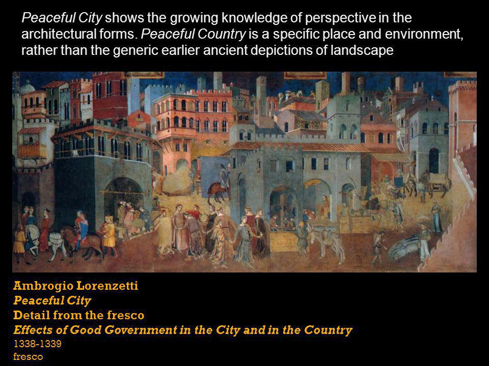 Ambrogio Lorenzetti Peaceful City Detail from the fresco Effects of Good Government in the City and in the Country 1338-1339 fresco Peaceful City show