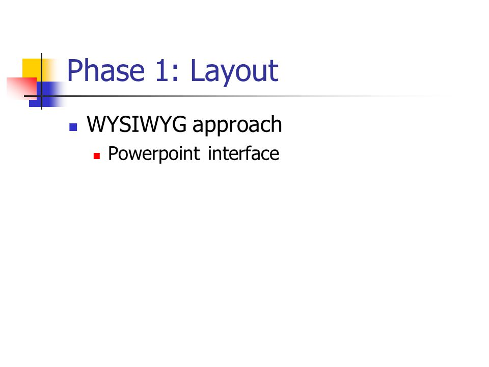 Phase 1: Layout WYSIWYG approach Powerpoint interface