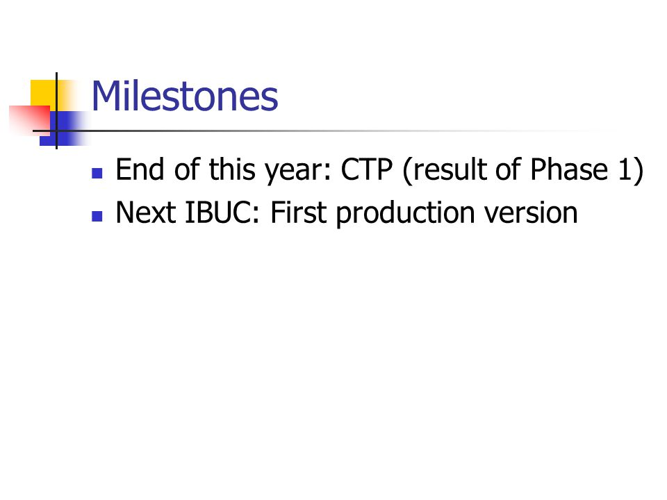 Milestones End of this year: CTP (result of Phase 1) Next IBUC: First production version