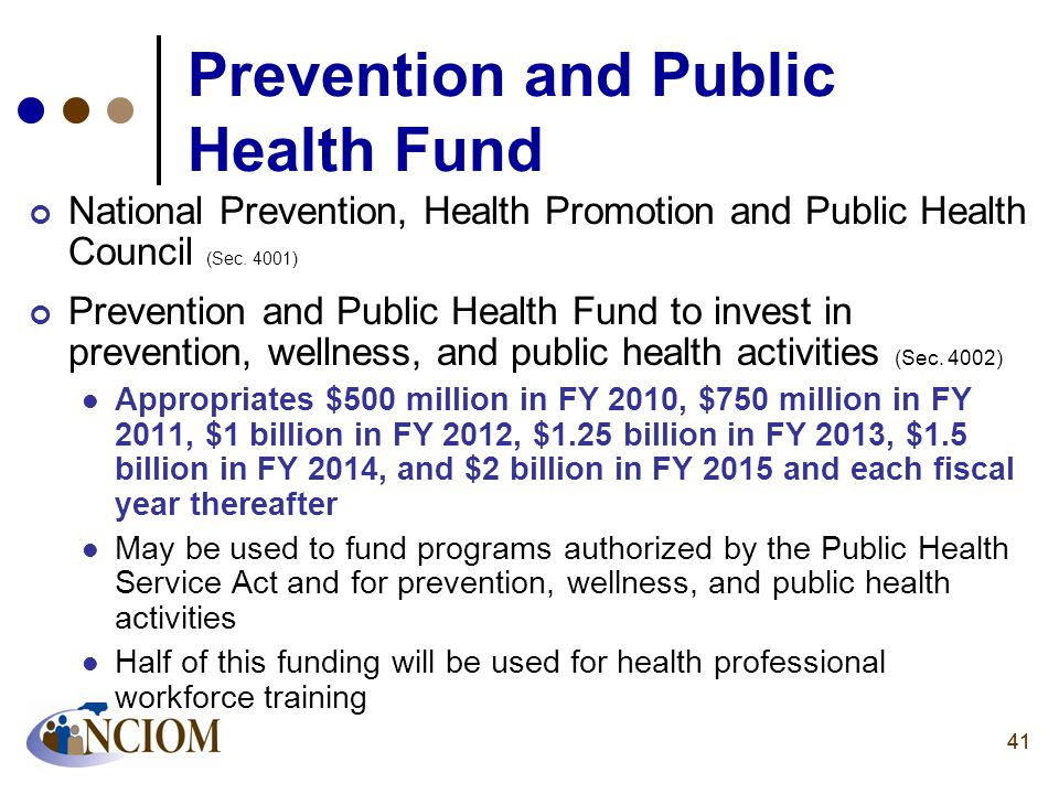 41 Prevention and Public Health Fund National Prevention, Health Promotion and Public Health Council (Sec. 4001) Prevention and Public Health Fund to