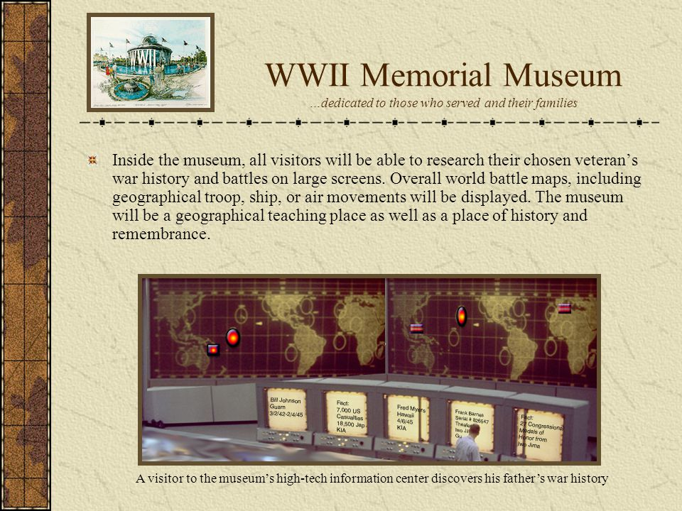 WWII Memorial Museum …dedicated to those who served and their families Inside the museum, all visitors will be able to research their chosen veterans war history and battles on large screens.