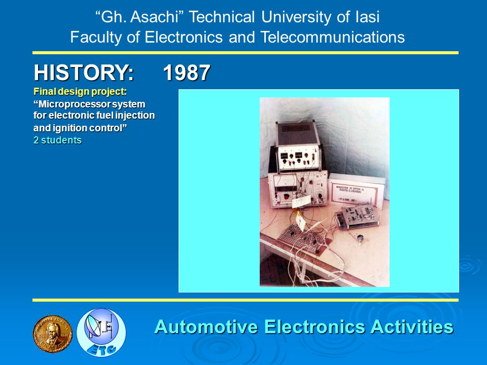 Gh. Asachi Technical University of Iasi Faculty of Electronics and Telecommunications HISTORY: Final design project: Microprocessor system for electro