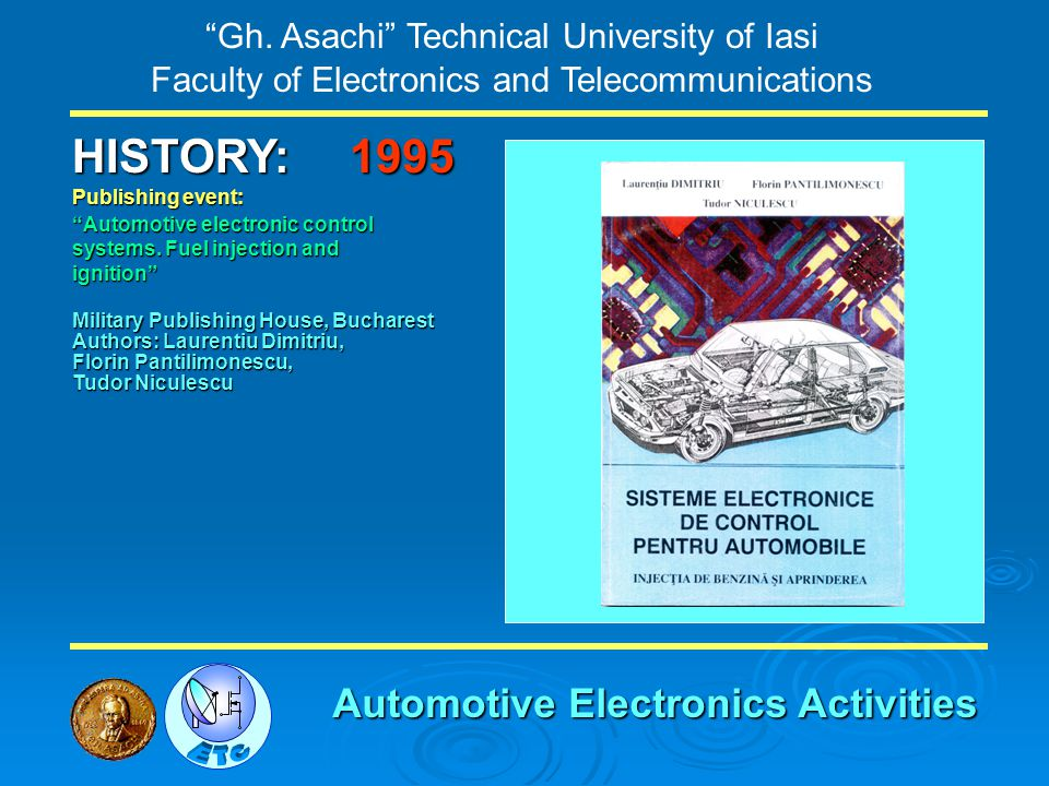 Gh. Asachi Technical University of Iasi Faculty of Electronics and Telecommunications HISTORY: Publishing event: Automotive electronic control systems