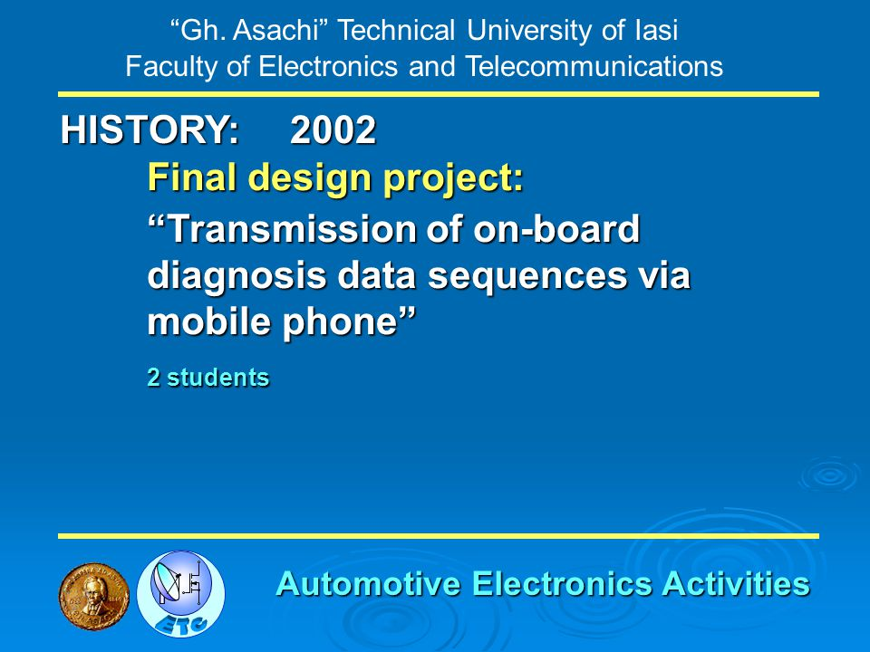 Gh. Asachi Technical University of Iasi Faculty of Electronics and Telecommunications HISTORY: Final design project: Transmission of on-board diagnosi