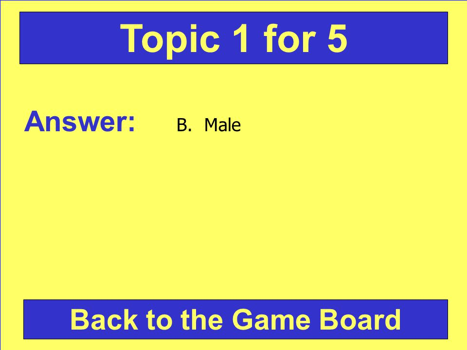 Answer: B. Male Back to the Game Board Topic 1 for 5