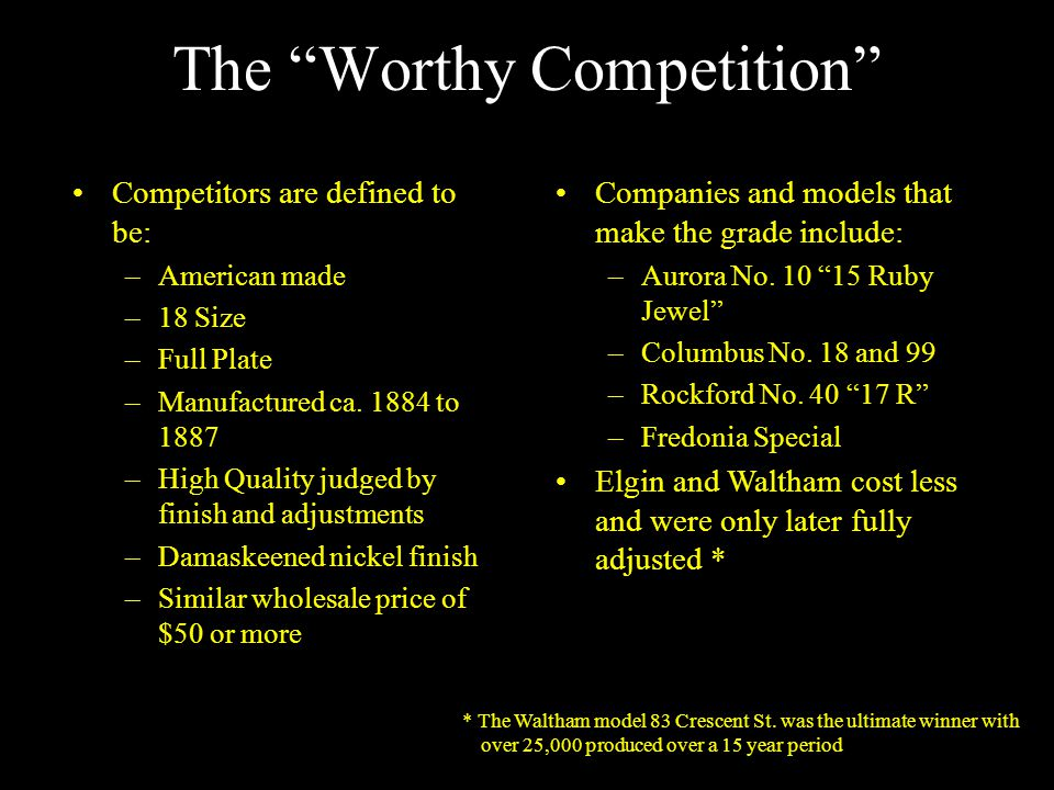 The Worthy Competition Competitors are defined to be: –American made –18 Size –Full Plate –Manufactured ca.