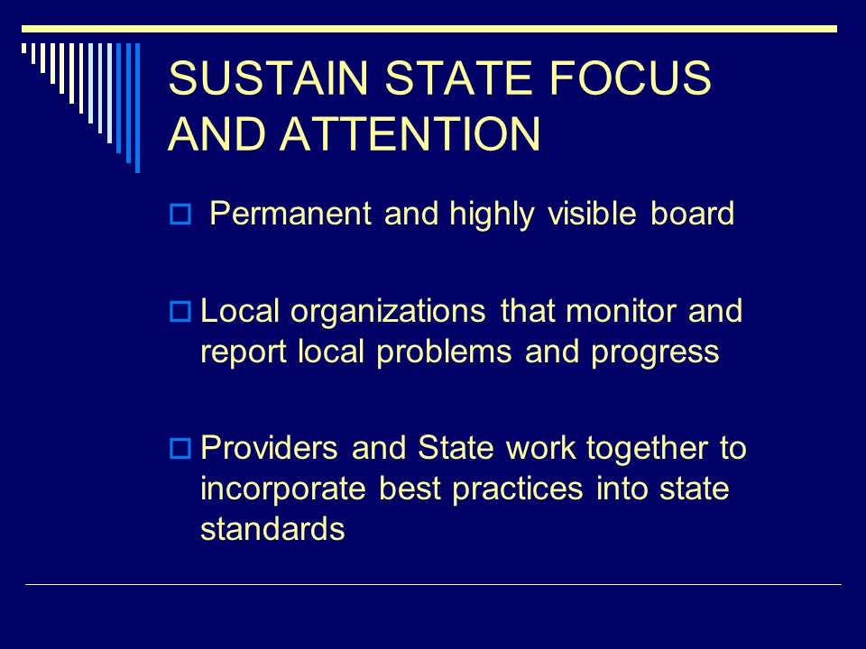 SUSTAIN STATE FOCUS AND ATTENTION Permanent and highly visible board Local organizations that monitor and report local problems and progress Providers and State work together to incorporate best practices into state standards