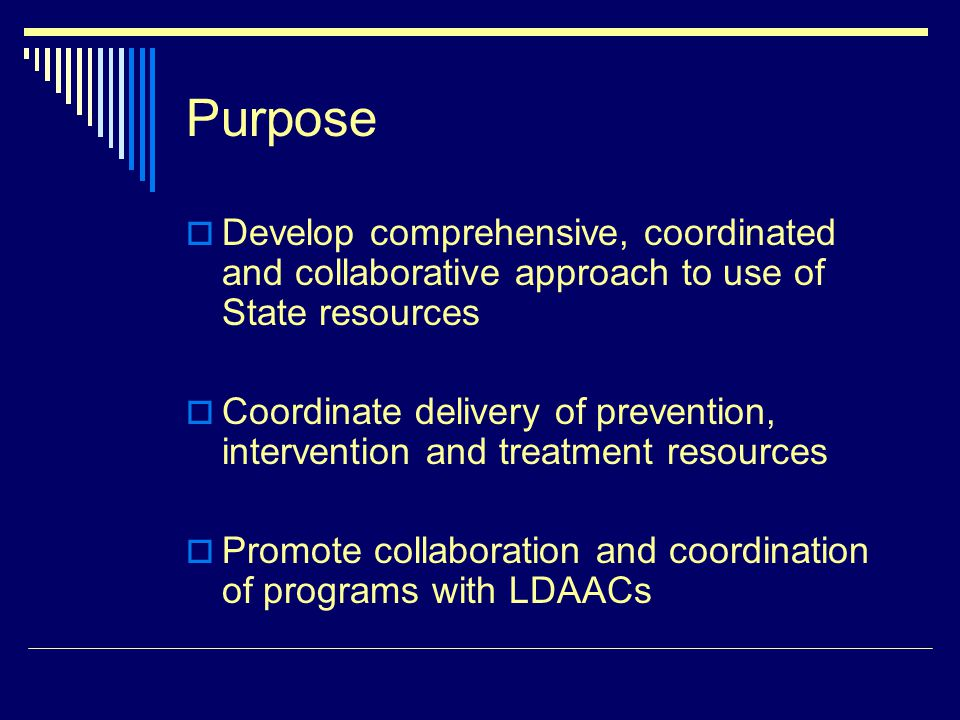 Purpose Develop comprehensive, coordinated and collaborative approach to use of State resources Coordinate delivery of prevention, intervention and tr