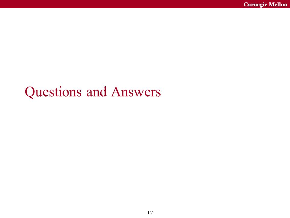 17 Carnegie Mellon Questions and Answers
