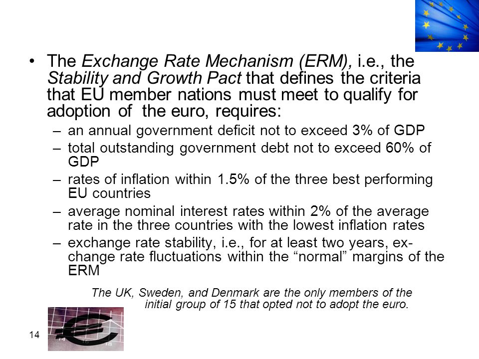 14 The Exchange Rate Mechanism (ERM), i.e., the Stability and Growth Pact that defines the criteria that EU member nations must meet to qualify for ad