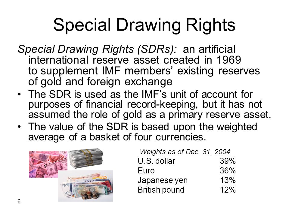 6 Special Drawing Rights Special Drawing Rights (SDRs): an artificial international reserve asset created in 1969 to supplement IMF members existing r