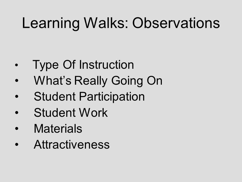 Learning Walks: Observations Type Of Instruction Whats Really Going On Student Participation Student Work Materials Attractiveness
