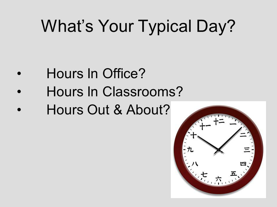Whats Your Typical Day Hours In Office Hours In Classrooms Hours Out & About