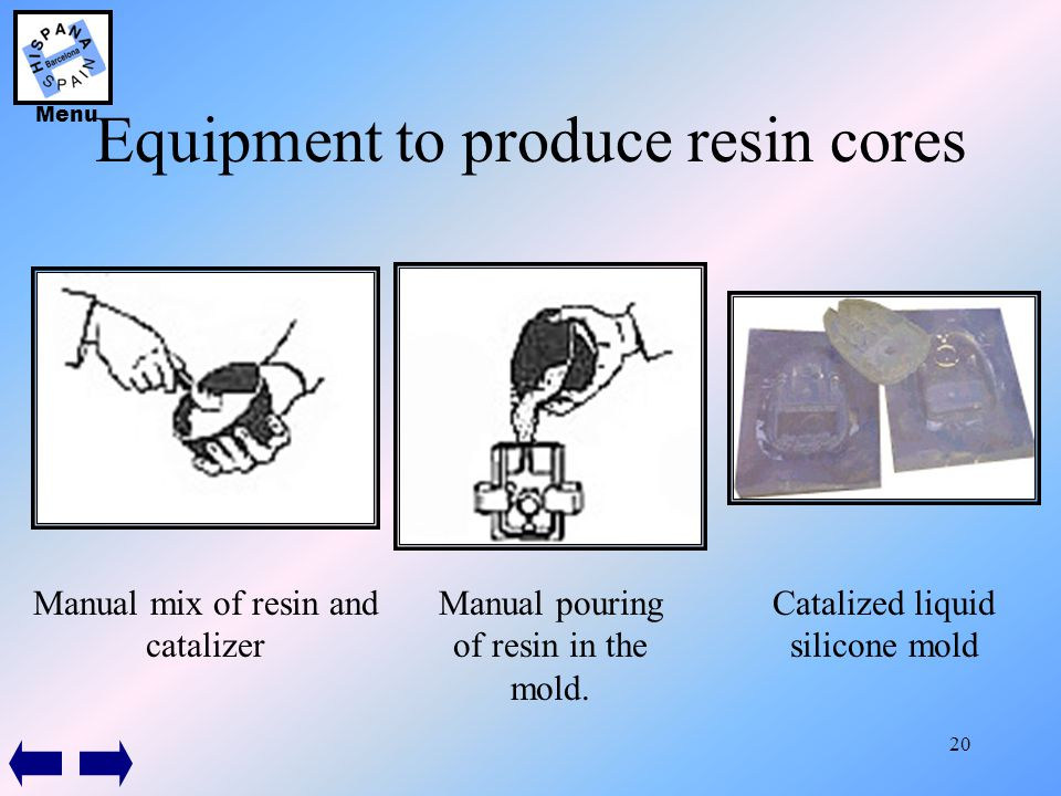 20 Equipment to produce resin cores Manual mix of resin and catalizer Manual pouring of resin in the mold. Catalized liquid silicone mold Menu