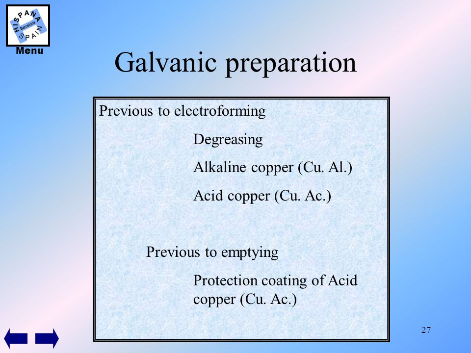 27 Galvanic preparation Previous to electroforming Degreasing Alkaline copper (Cu. Al.) Acid copper (Cu. Ac.) Previous to emptying Protection coating