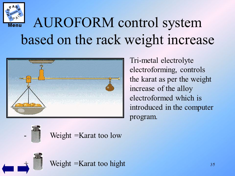 35 AUROFORM control system based on the rack weight increase Tri-metal electrolyte electroforming, controls the karat as per the weight increase of th