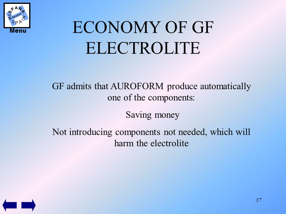 37 ECONOMY OF GF ELECTROLITE GF admits that AUROFORM produce automatically one of the components: Saving money Not introducing components not needed,