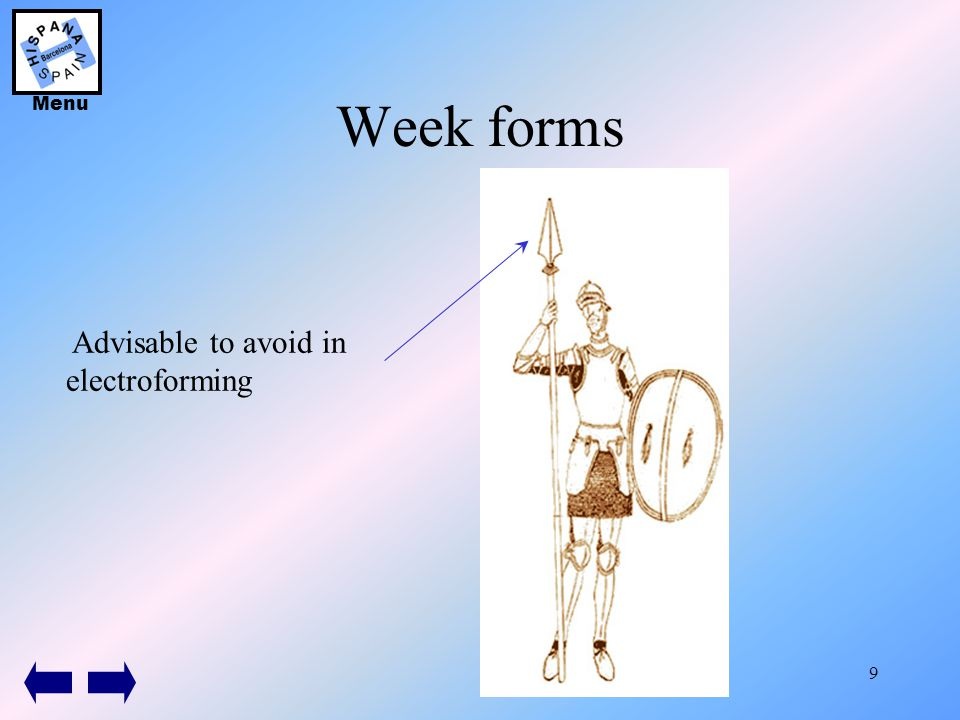 9 Week forms Advisable to avoid in electroforming Menu