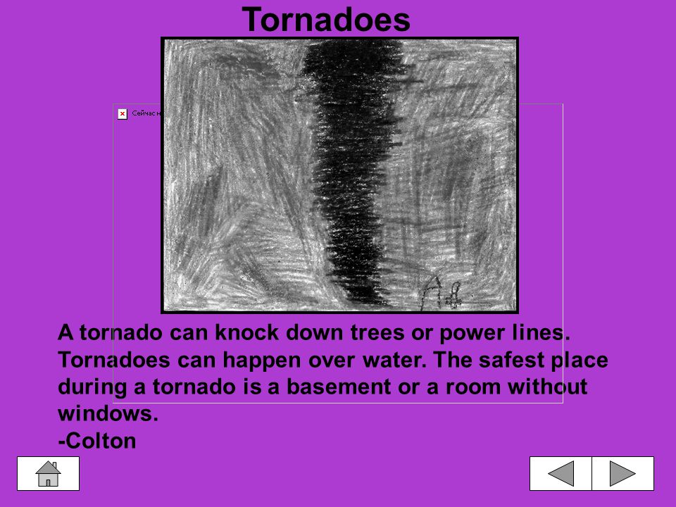 The shape of a tornado is called a funnel.Tornadoes can destroy a house.